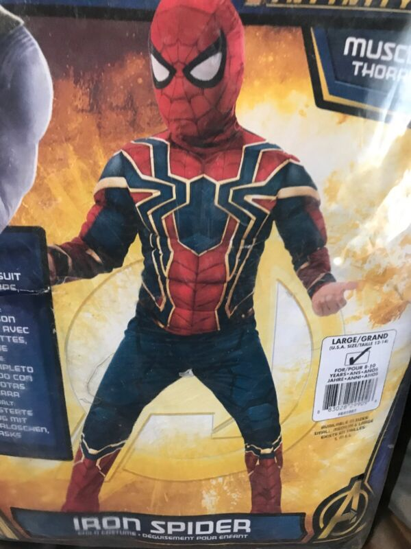 Avengers Infinity War Muscle Chest Iron Spiderman Costume Childs Size L(12-14)