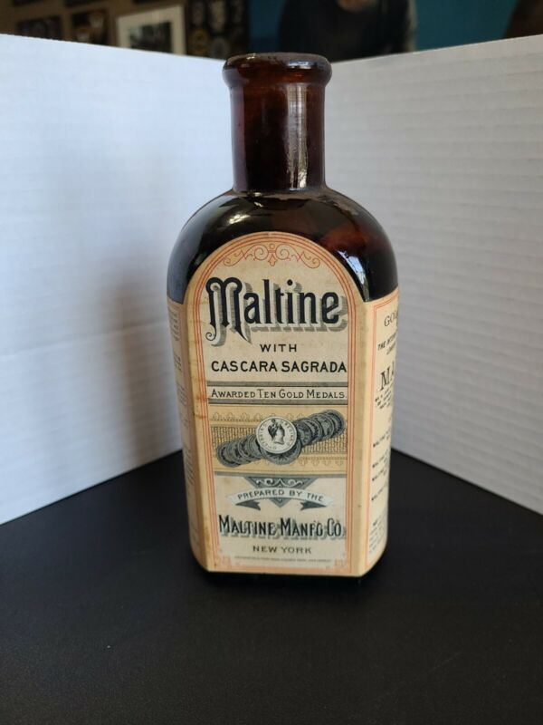 Vintage 1890 Maltine Cascara Sagrada Amber Btl. Quack Medicine