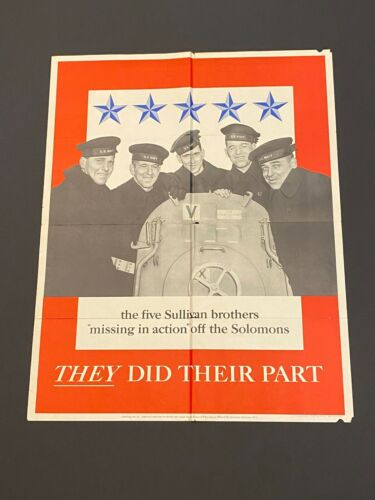 THE FIVE SULLIVAN BROTHERS - THEY DID THEIR PART - WW2 Poster - ORIGINAL