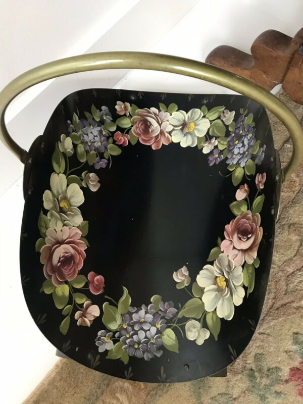 Italian Painted Tole Magazine Floral Roses Tray