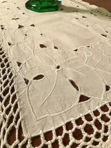 """White Cotton Cutwork Crochet Edge Table Runner, 33"""" x 14"""" - PRETTY"""