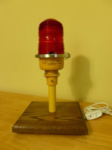 Vintage Ruby Red Globe Man Cave Airport Runway Taxiway Light Desk Table Lamp