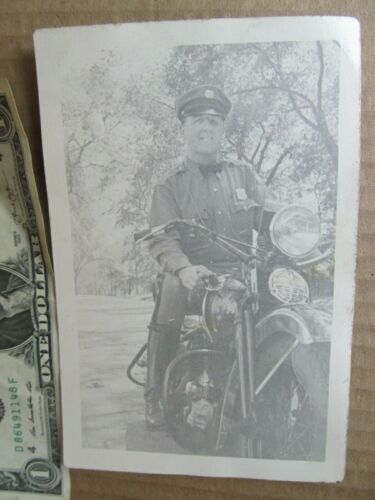 Orig Vintage Photo of Policeman on EARLY MOTORCYCLE, Harley Davidson, Indian Cop