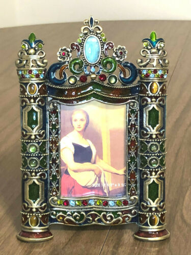 "Jeweled Ornate Enamel Picture Frame - GORGEOUS! 6.5"" x 4.25"" Vintage Frame"