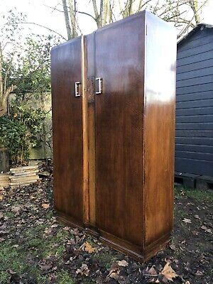 Antique Oak Double Wardrobe Armoire Compactum Art Deco Carved Panel
