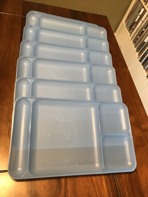 7 Vintage Tupperware 1535 Divided Trays Picnic Dinner Lunch Translucent Blue EUC