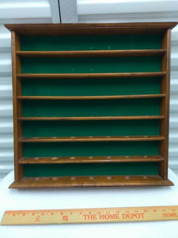 """Thimble, Rocks, Display Rack Wooden Vintage Green Felt 19"""" x 18"""" Shelf Hold 49"""