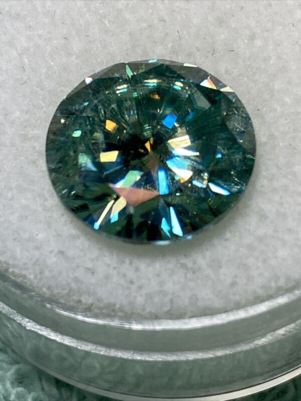 7.10ct 12.90mm Fancy Blue ROUND LOOSE MOISSANITE DIAMOND US SELLER