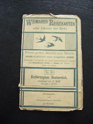 alte Landkarte Weimarer Reisekarten Nr.26 Erzherzogthum Österreich um 1900