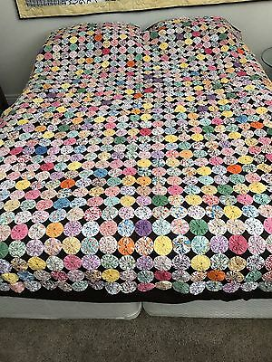 "Vintage Yo-Yo Bed Cover, Quilt, Coverlet, Multi Color 78"" x 82"" Beautiful"