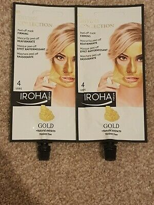 2x Iroha Nature Divine Gold Peel-Off Mask Firming face mask New 8 Uses