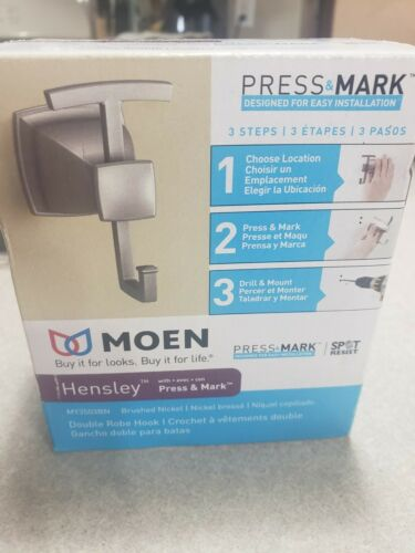 MOEN Hensley Double Robe Hook with Press and Mark in Brushed Nickel