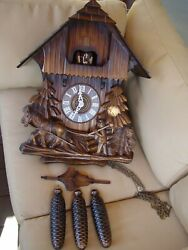 Large 21 beautiful Black Forest deep carved 8 day musical cuckoo clock