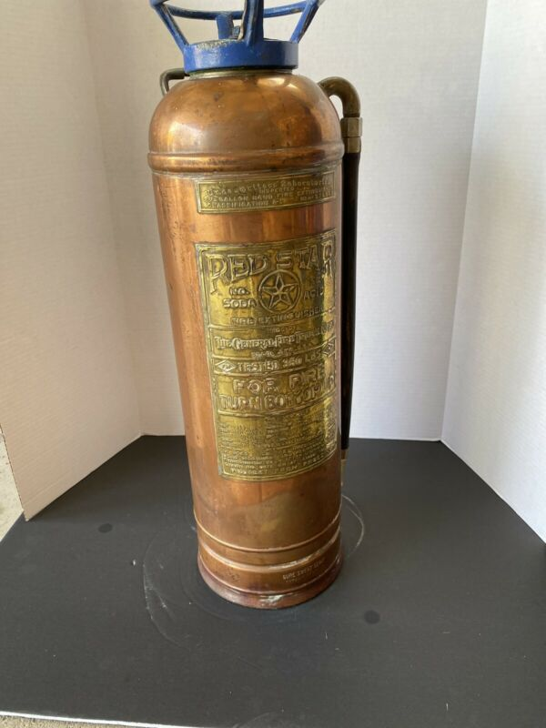Vintage Copper Fire Extinguisher Brass Label RED STAR Iron Cap - Empty