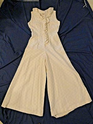 Vintage 1970s 70s White Lace Palazzo Wide Leg Pants Jumpsuit Ruffle Jabot Resort