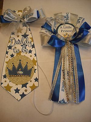Blue and Silver Prince  Mommy To Baby shower corsage and Daddy To Be (Baby Blue And Silver)