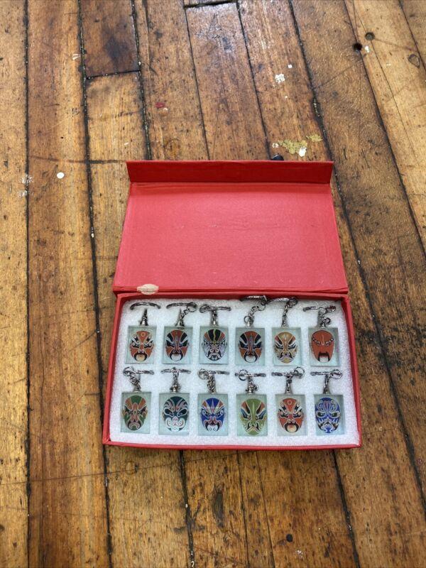 Set of 12 Chinese (Peking) Opera Facial Mask Keychain Box