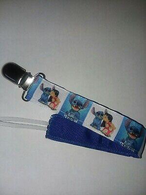 Baby Girl Boy Pacifier Clip Holder Leash Disney Lilo And Stitch Ohana Ribbon