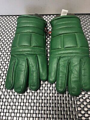 Vintage KOMBI Green LEATHER Insulated Winter Gloves - Woman's Basic (L) Korea ()
