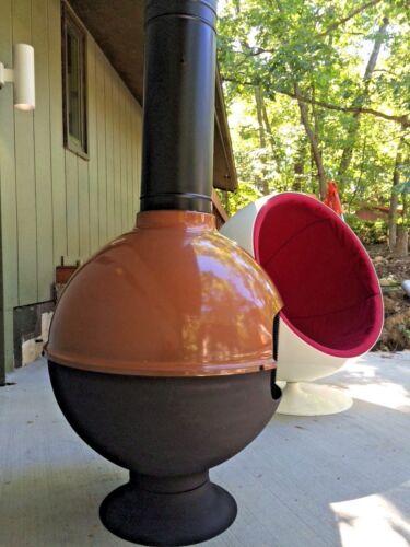Mid Century Brown Ball Round - freestanding cone retro vintage preway Malm