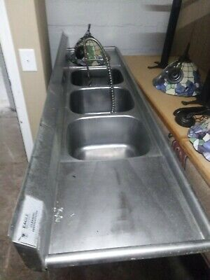 Eagle 3 Compartment Sink With Dish Sprayer Stainless Steel 91