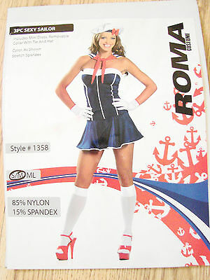 Sexy Sailor costume Roma Womens size small /medium S/M 3 piece dress hat collar - Roma Sailor Costume