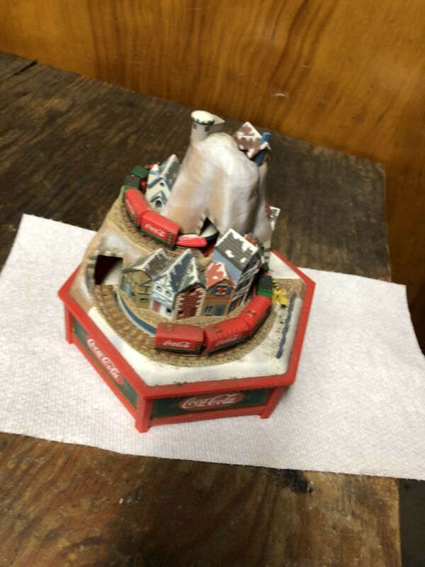 RARE NEW Coca-Cola Christmas Moving/Lights Trains Moutain Music Box