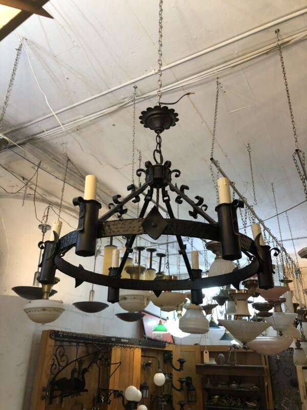 1970s Arts & Crafts Revival Wrought Iron Six (6) Light Chandelier
