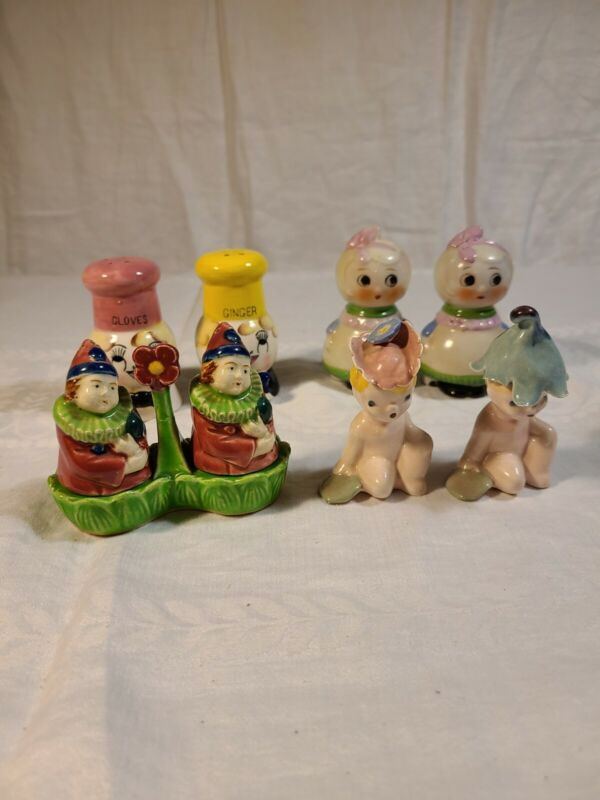 """Whimsical , Fun, Salt and Pepper Shakers, Collectable, 4 pairs,9 items,Approx 3"""""""