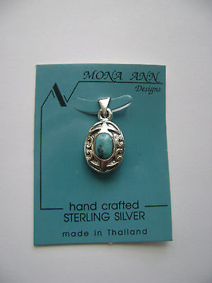 Sterling Silver Genuine Small Turquoise Oval Pendant New