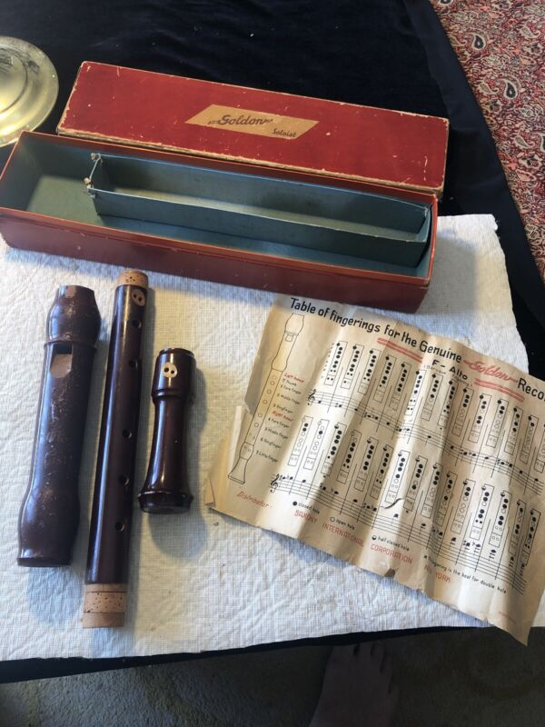 VINTAGE Goldon Soloist WOOD RECORDER Baroque Style With Original Box