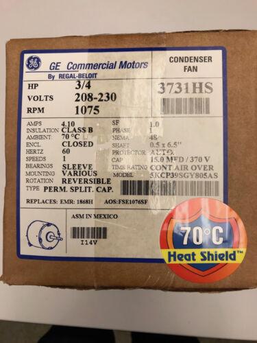 GE 3731HS Condenser Fan Motor 3/4HP 208-230VAC 1075RPM