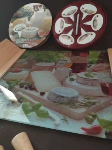Vintage italien tableau fromage verre bois avec couteaux et marqueurs porcelaine