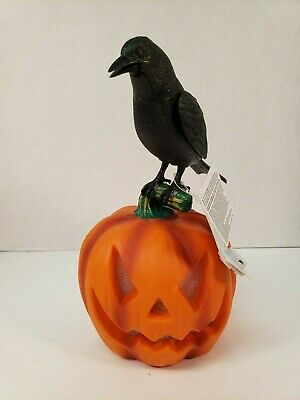 Halloween Raven Animated Motion Activated Lights Sounds Pumpkin Jack O'Lantern - Motion Activated Halloween Pumpkin