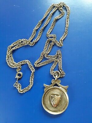 ANTIQUE SILVER & GOLD POCKET WATCH ALBERT FOB ON A NECKLACE CHAIN