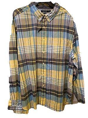 Mew$115 Nautica Plaid Shirt Long Sleeve 3XL Navy/Yellow