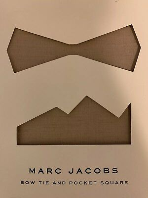 Marc Jacobs Bow Tie And Pocket Square * Light Brown Solid Pattern * Bow Tie Solid Light