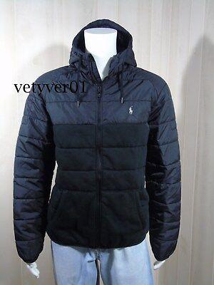 Hooded Taffeta Parka - New Polo RALPH LAUREN Quilted Hybrid Hooded Cotton/Taffeta Anorak/Jacket Black