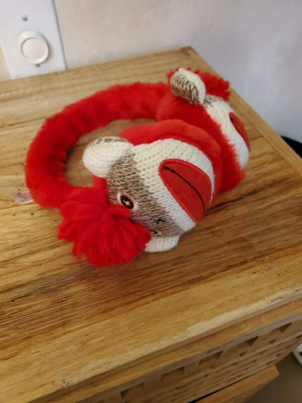 Paul Frank Julius Monkey Knitted Earmuffs Ear Covered Red