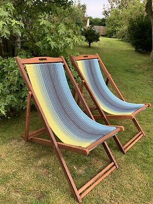 Folding Wooden Deck Chairs x 2 from John Lewis
