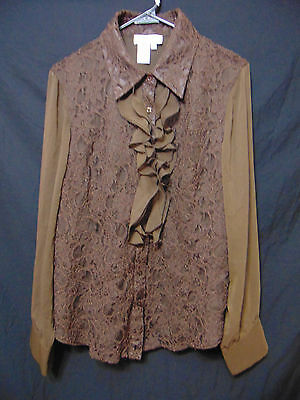 COLDWATER CREEK Womens Button Down Shirt/Top 1X Chocolate Brown Long Sleeve Lace Button Down Chocolate Apparel
