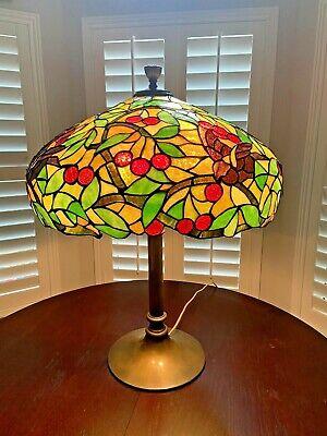 Large 1910 Chicago Mosaic Leaded Glass Shade, Bird Cherry Tree, Handel Lamp Era