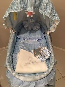 Beautiful baby boy bassinet with teddy and brand new blanket! North Lakes Pine Rivers Area Preview