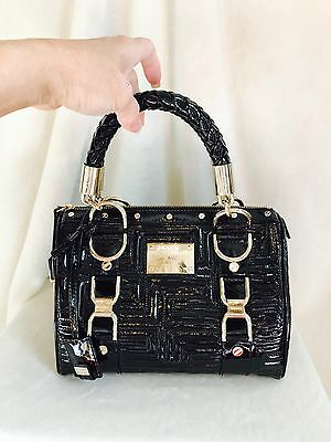 "VERSACE COUTURE Black Patent Leather MADONNA ""Snap Out Of It"" Handbag, Gold Trim"