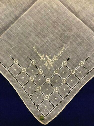 Vintage Antique Linen Handkerchief -Squares, Dots & Flowers -NEW(old) #20 (C21C)