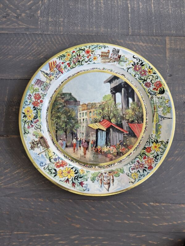 """Vintage Daher Decorated Ware 8"""" Metal Tin Plate Made in Holland City Street View"""