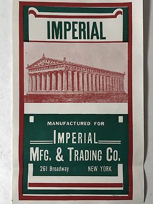 Rare Imperial Mfg and Trading Co Label ~ New York