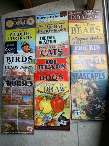 WALTER T. FOSTER (20) Art Books, Sketch Paint Draw Vintage lot FREE