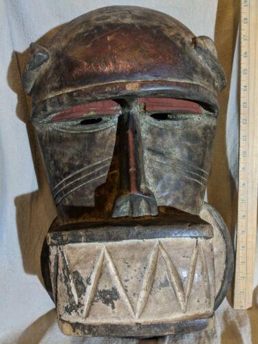 Heavy Unique Mblo Portrait Mask with Pigment — Authentic Carved African Wood Art