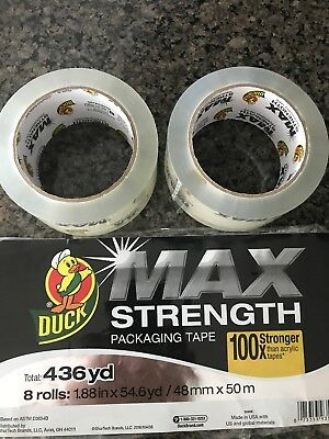 2 Pack Clear Heavy Duty Duck Max Strength Packaging Tape 1.88 In X 54.6 Yd Lot